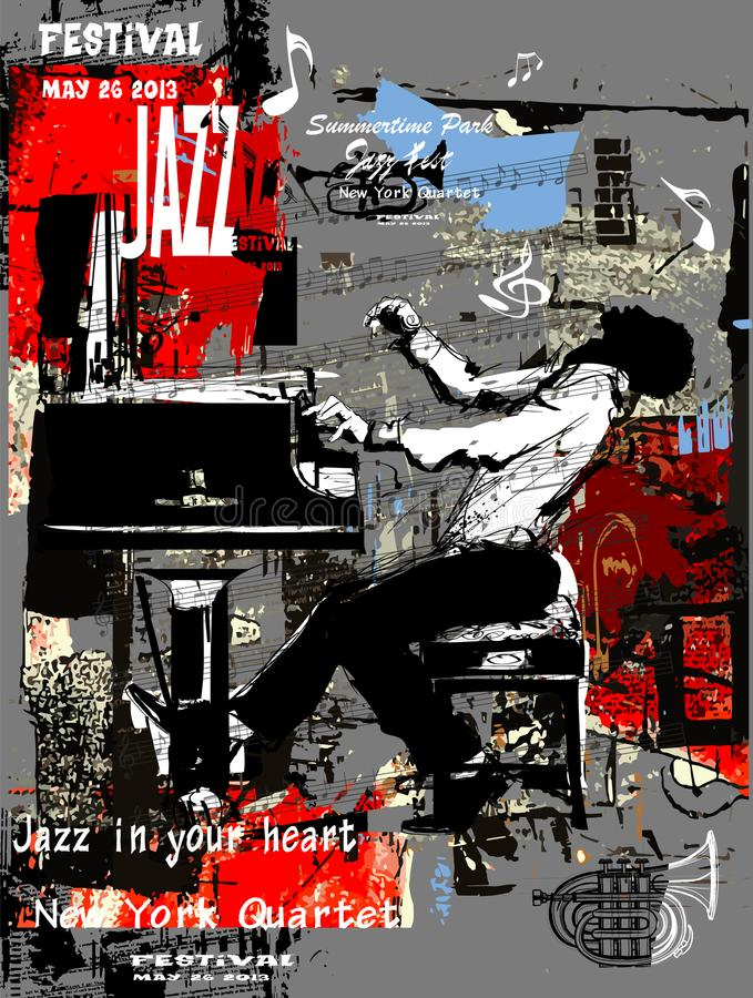 Jazz poster with pianist over grunge background royalty free illustration