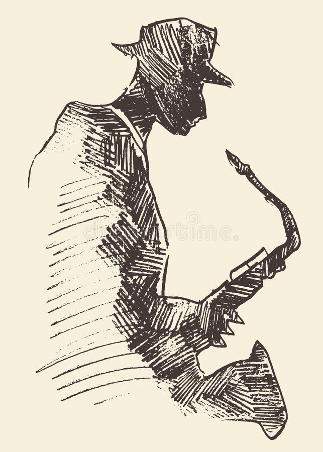 Jazz poster saxophone music acoustic consept. Concept for jazz poster Man playing saxophone Vintage hand drawn illustration sketch royalty free illustration