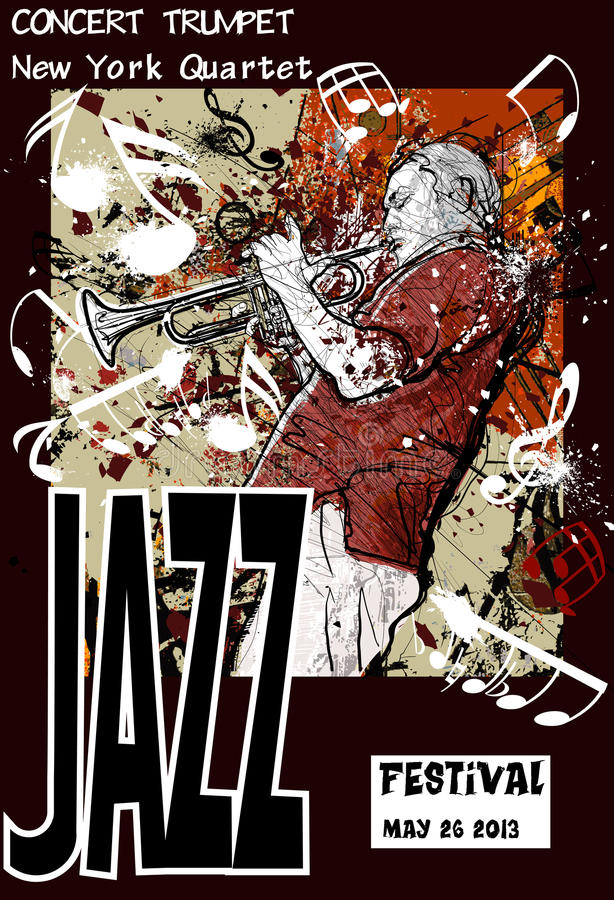 Jazz poster with trumpeter vector illustration