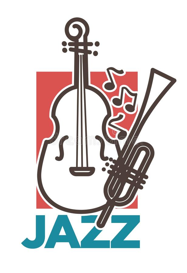 Jazz promo poster with classic musical instruments and notes. Huge contrabass and long pipe outlines. Stylish elegant live music concert commercial banner vector illustration