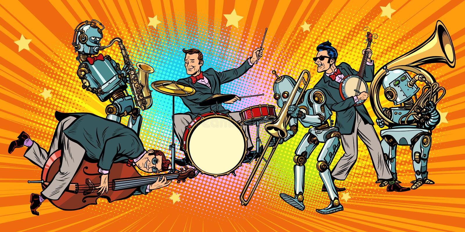 Jazz rock n roll band of humans and robots royalty free illustration