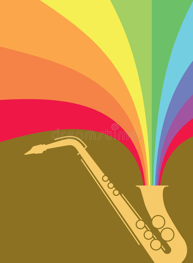 Jazz Sax Blast Rainbow. Hot jazz, cool jazz, the saxophones play on! This dynamic sax blast is useful in a variety of applications - a full page ad, magazine stock illustration
