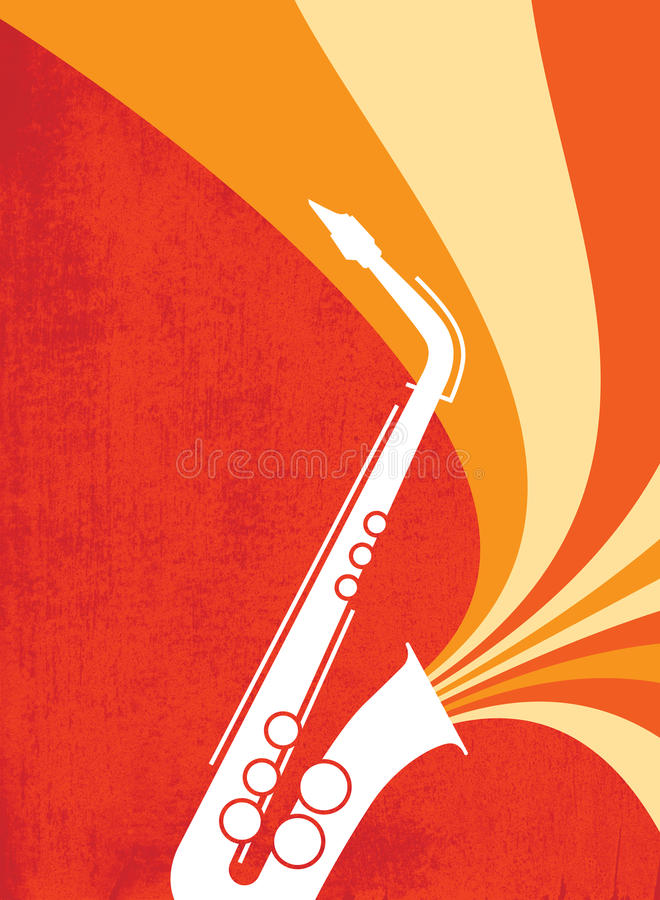 Jazz Sax Blast Red_Orange. Hot jazz, cool jazz, the saxophones play on! This dynamic sax blast is useful in a variety of applications - a full page ad, magazine royalty free illustration