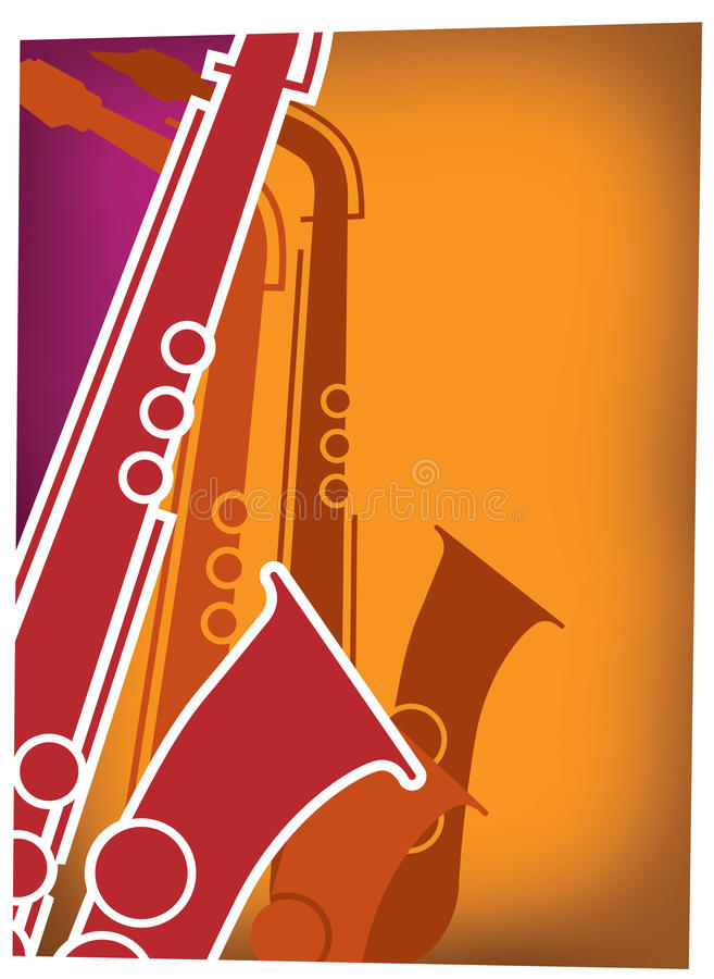 Jazz Sax Blast Red_Violet. Hot jazz, cool jazz, the saxophones play on! This dynamic sax blast is useful in a variety of applications - a full page ad, magazine stock illustration