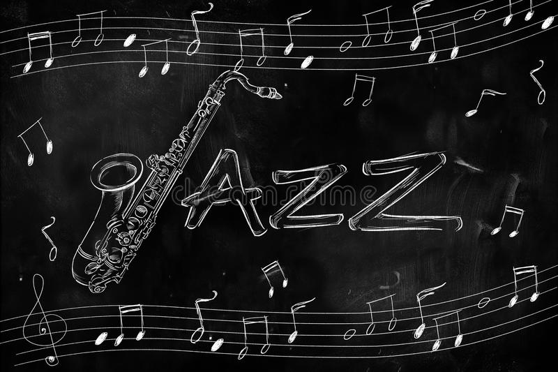 Jazz Saxophone Drawing op bord stock illustratie