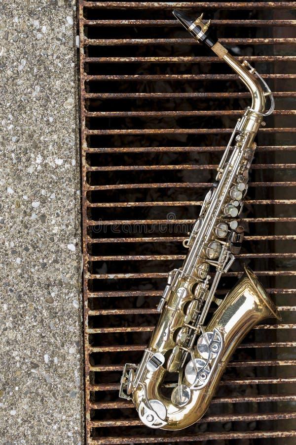 Jazz Saxophone Grunge royaltyfri fotografi