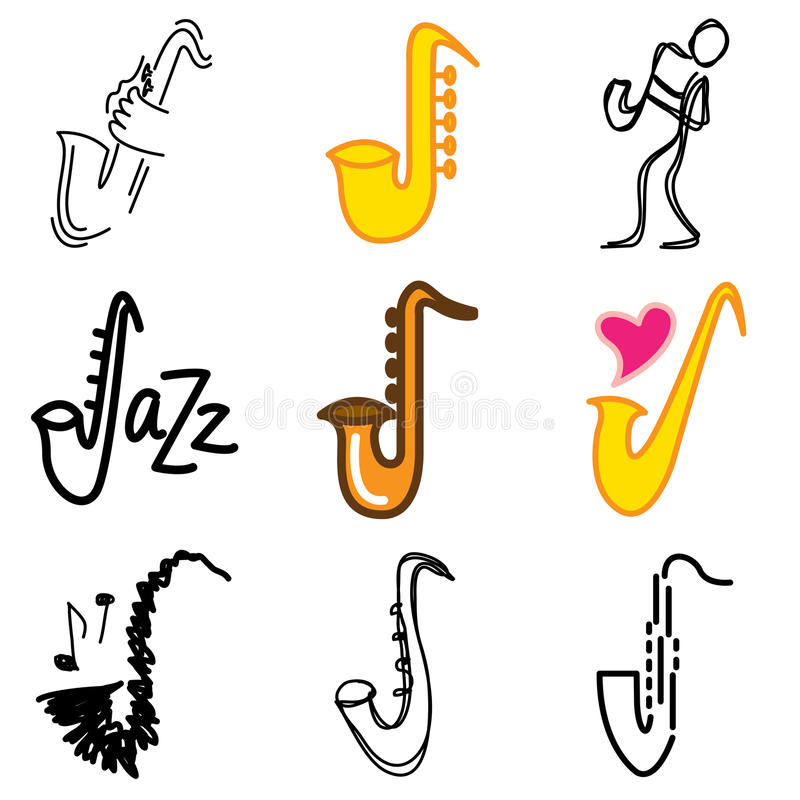 Jazz saxophone icons vector illustration