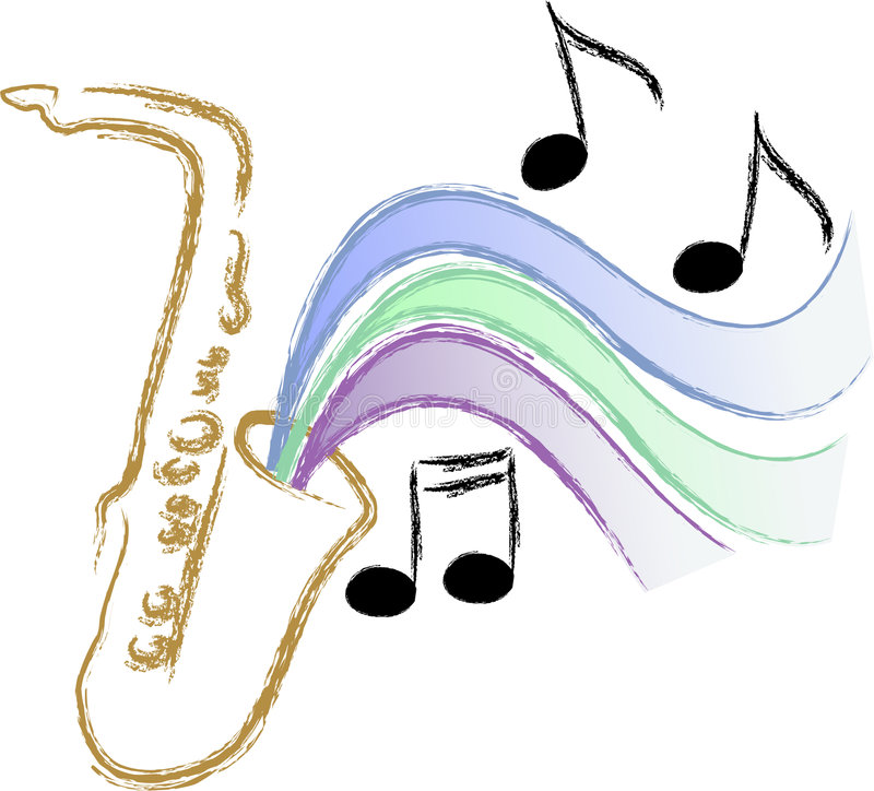 Jazz Saxophone Music/eps. Illustration of a saxophone with stylized music symbolizing jazz, blues, swing music...matching trumpet in my portfolio