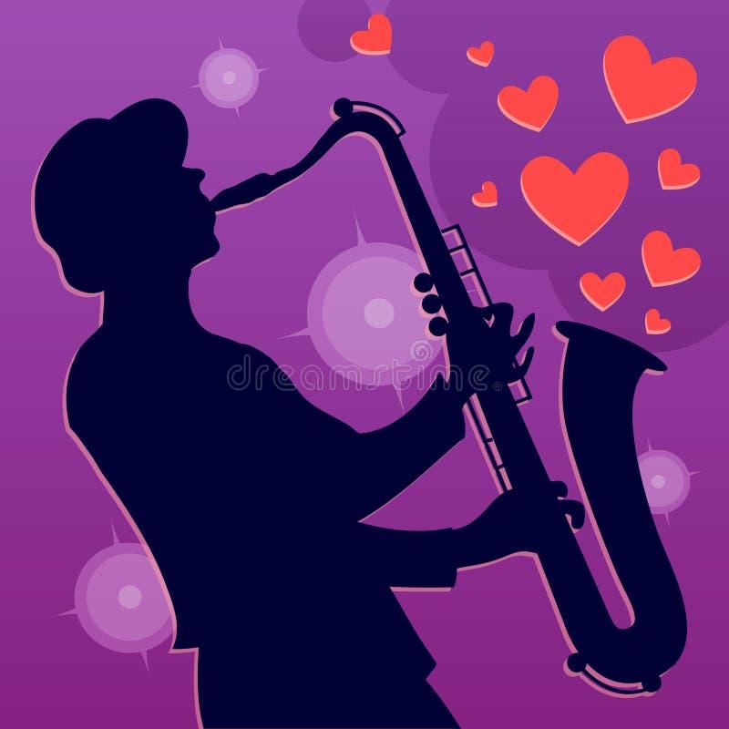 Jazz Saxophone Player Saxofonistmusicus stock illustratie