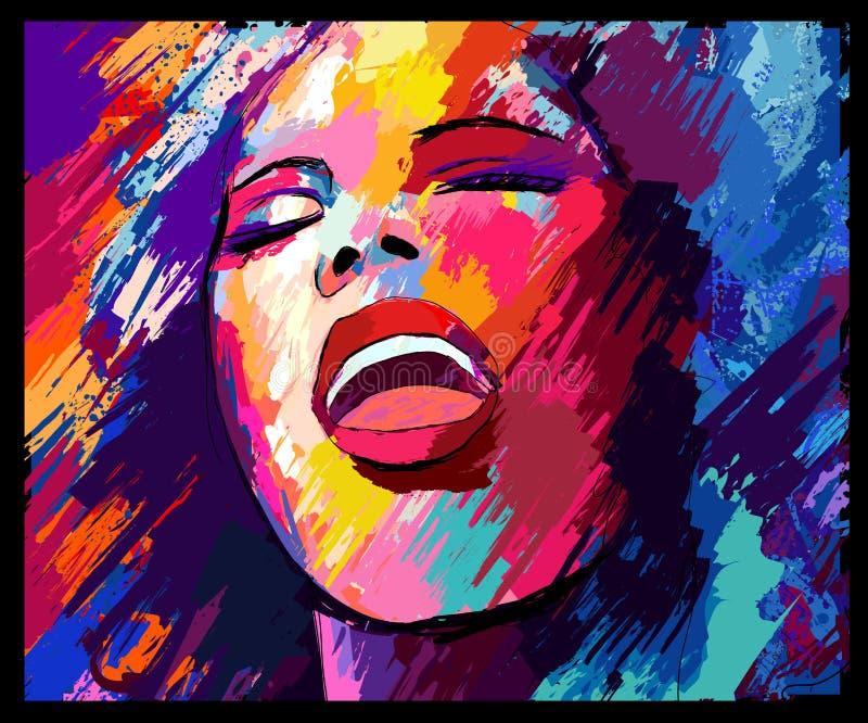 Jazz singer on a grunge background stock illustration