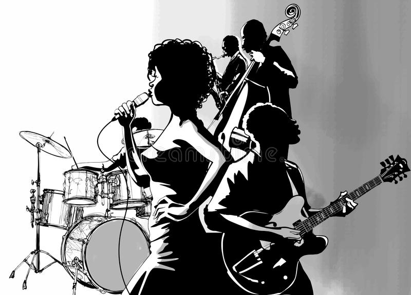 Jazz singer with guitar saxophone and double-bass player royalty free illustration