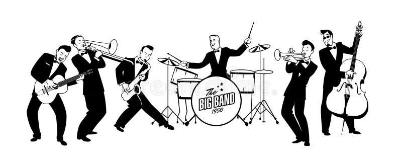 Jazz Swing Orchestra retro stil tecknad filmcommandertryckspruta hans illustrationsoldatstopwatch royaltyfri illustrationer