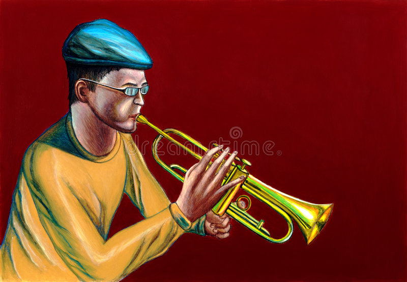 Jazz trumpet player. A jazzman playing trumpet. Hand painted illustration vector illustration