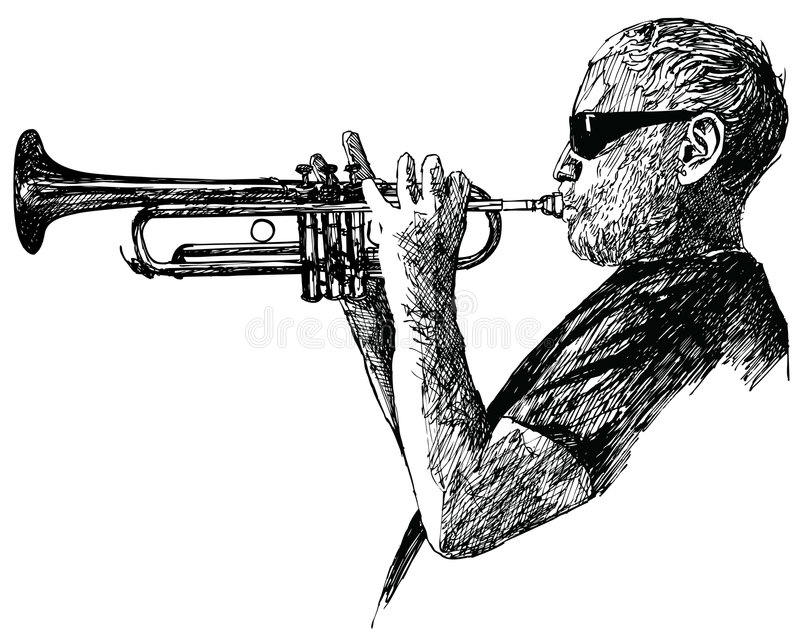 Jazz trumpet player vector illustration