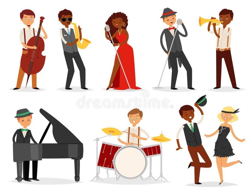 Jazz vector musician character playing on musical instruments saxophone drums and piano illustration music set of singer royalty free illustration