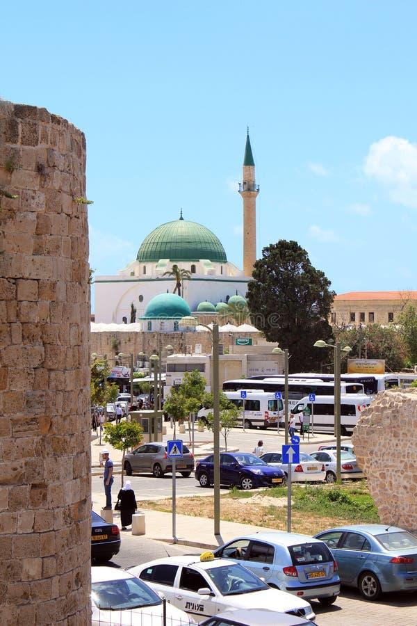 Jazzar Pasha Mosque, Acre, Israël royalty-vrije stock afbeelding