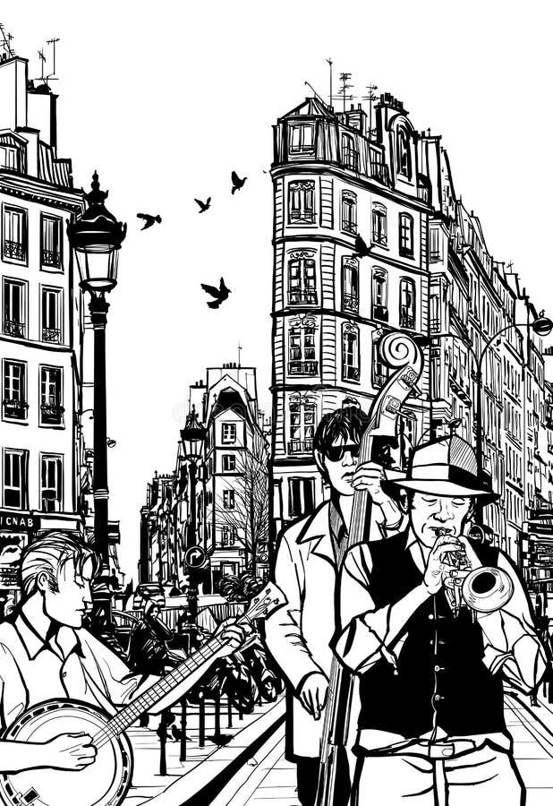 Jazzband in einer Straße von Paris lizenzfreie abbildung