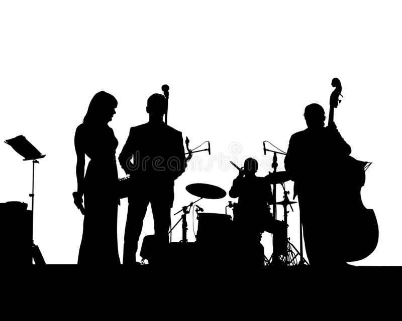 Jazzband en stock illustrationer