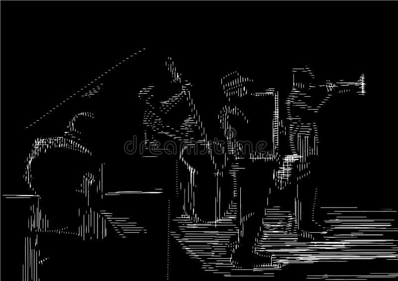 Jazzband Gravurestijl vector illustratie