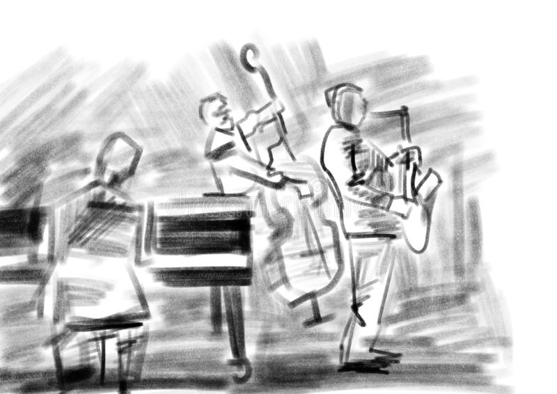 Jazzband Houtskooltekening stock illustratie