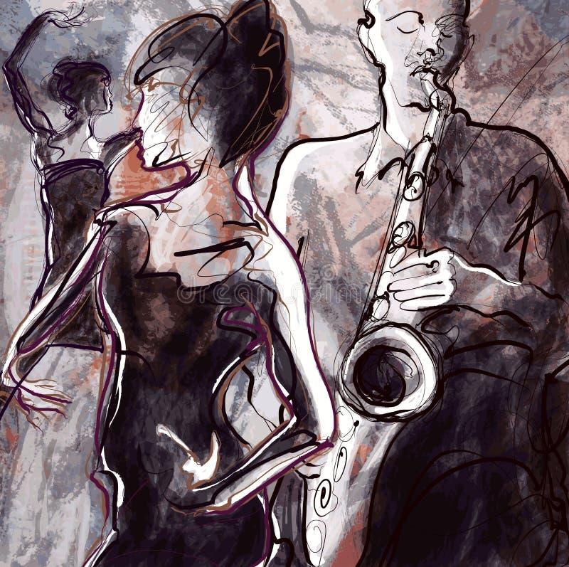 Jazzband med dansare stock illustrationer