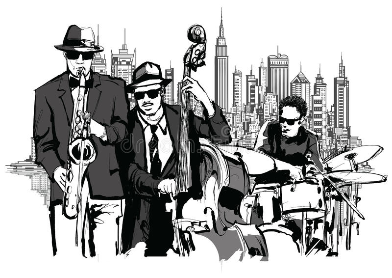 Jazzband in New York royalty-vrije illustratie