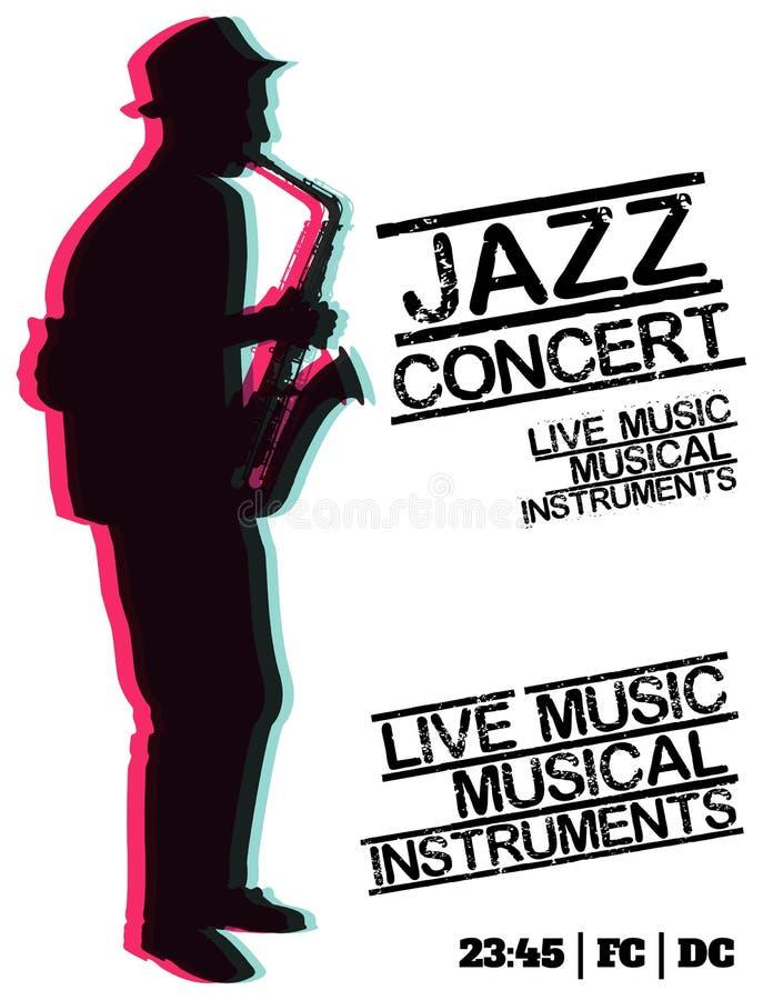 Jazzblau-Musikkonzert, Plakathintergrundschablone stock abbildung