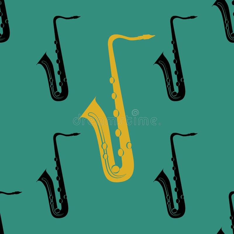 Jazzconcept saxophone Naadloos patroon stock illustratie