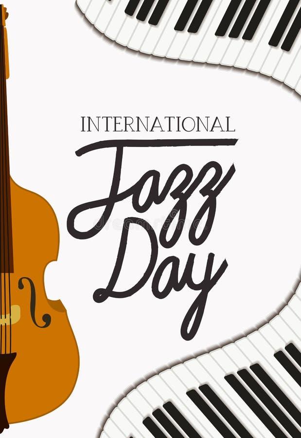 Jazzdagaffisch med pianotangentbordet och lurendrejeri vektor illustrationer