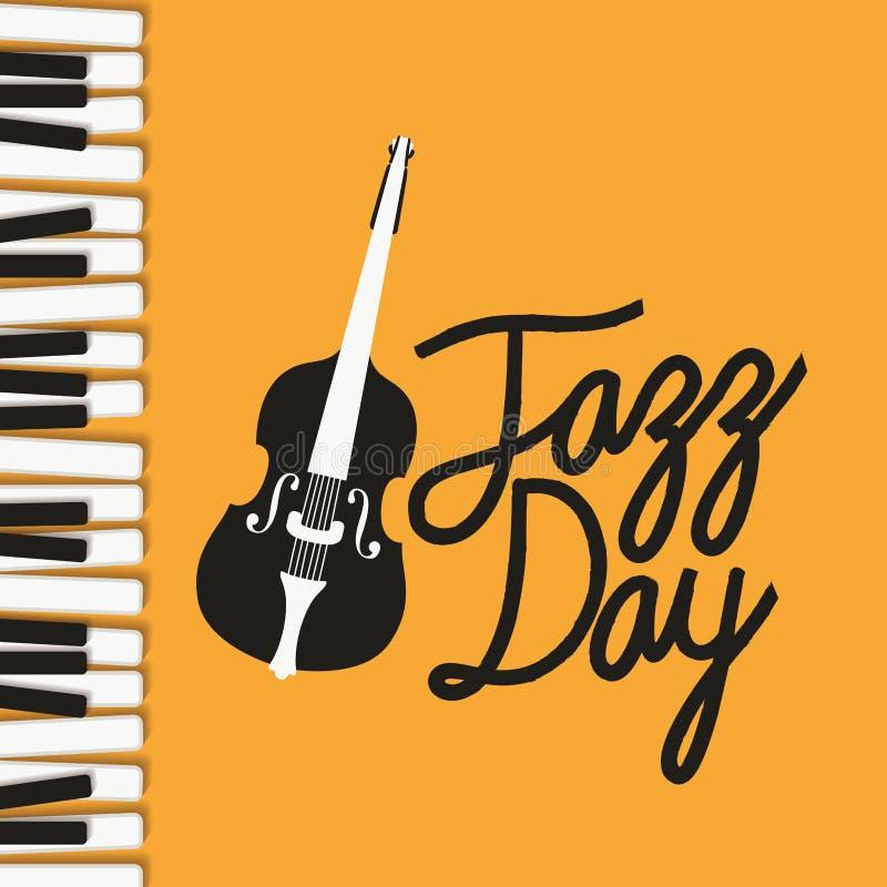 Jazzdagaffisch med pianotangentbordet och lurendrejeri royaltyfri illustrationer