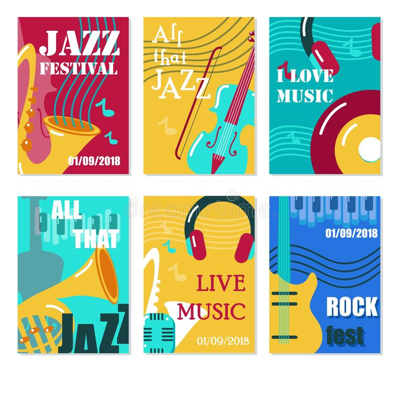 Jazzfestival, för konsertvektor för levande musik affisch, reklamblad, kortuppsättning vektor illustrationer