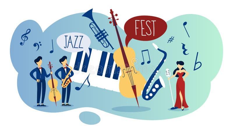 Jazzfestival och akustisk händelseaffisch för levande musik stock illustrationer