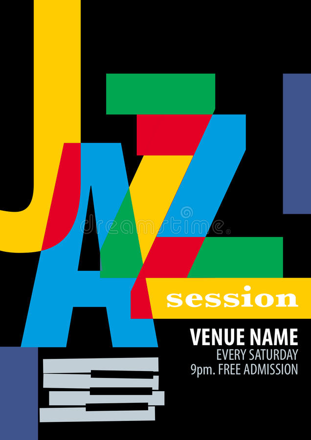 Jazzfestival-Plakatschablone stock abbildung