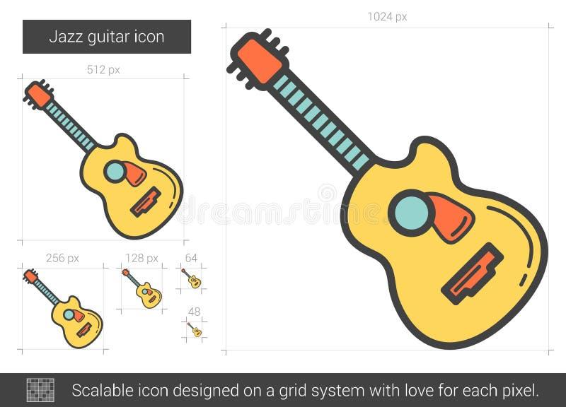 Jazzgitarrlinje symbol stock illustrationer