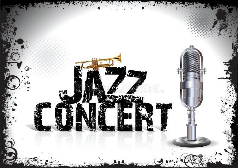 Jazzkonsertaffisch royaltyfri illustrationer