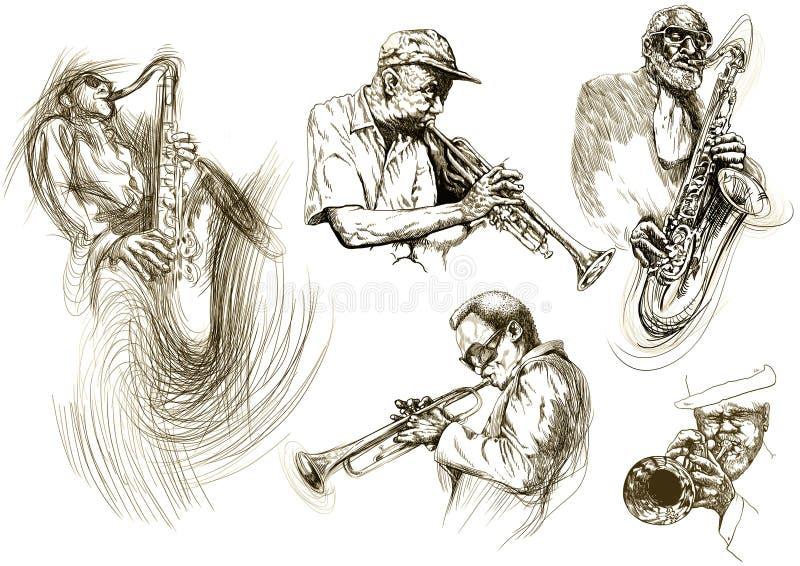 jazzmän royaltyfri illustrationer