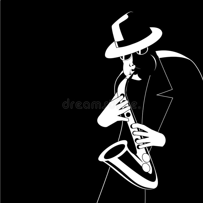 Jazzman in the dark. Jazzman improvisation in the darkness stock illustration