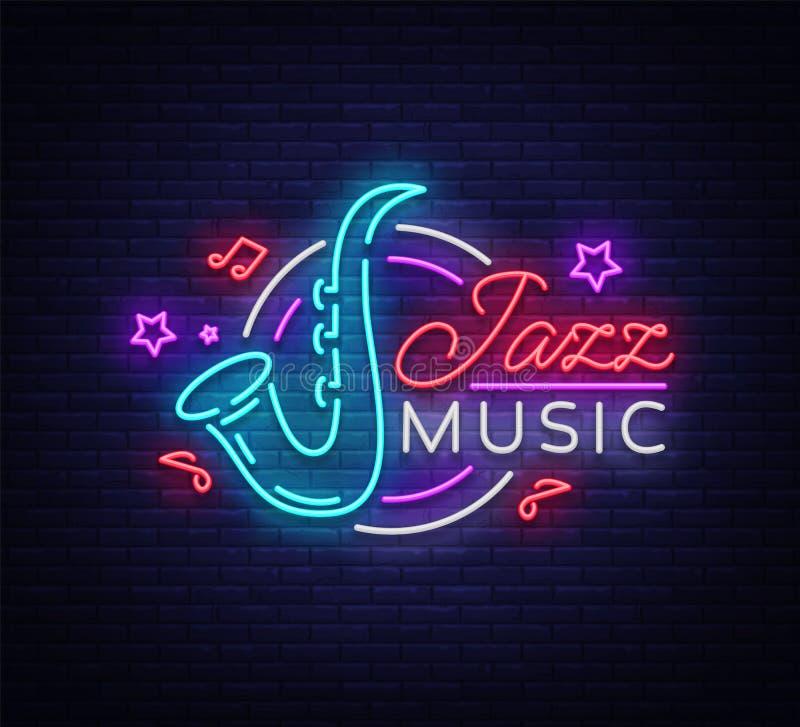 Jazzmusik Ist Eine Leuchtreklame Symbol, Neon-Ähnliches Logo, Helle ...