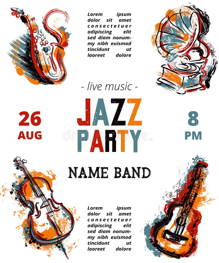 Jazzmusik-Parteiplakat mit Musikinstrumenten Saxophon, Gitarre, Cello, Grammophon mit Schmutzaquarell spritzt vektor abbildung