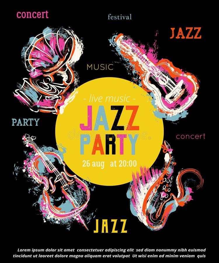 Jazzmusik-Parteiplakat mit Musikinstrumenten Saxophon, Gitarre, Cello, Grammophon mit Schmutzaquarell spritzt stock abbildung
