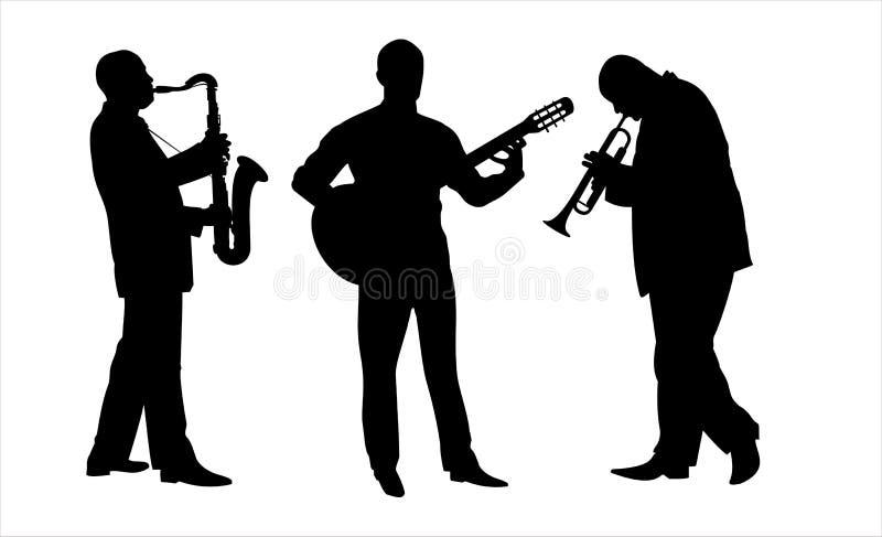 jazzmusiker royaltyfri illustrationer