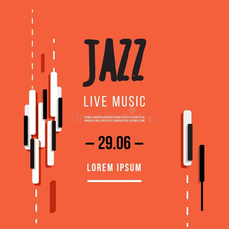 Jazzmusikfestival, affischbakgrundsmall Tangentbord med musiktangenter Reklambladvektordesign vektor illustrationer