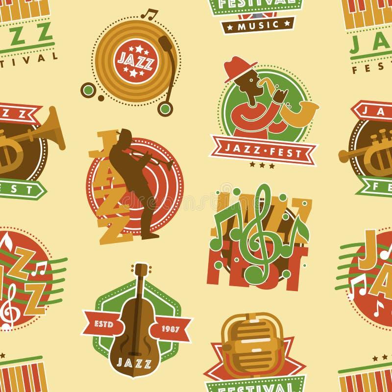 Jazzmusikfestivalaufkleber mit Saxophonblasinstrument-Musiker Fest und Mikrofon werden nahtloses Muster des Vektors deutlich vektor abbildung