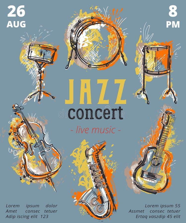 Jazzmusikpartei mit Musikinstrumenten Saxophon, Gitarre, Cello, Trommelausrüstung mit Schmutzaquarell spritzt vektor abbildung