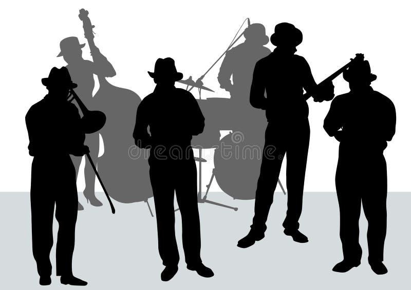 jazzorkester stock illustrationer