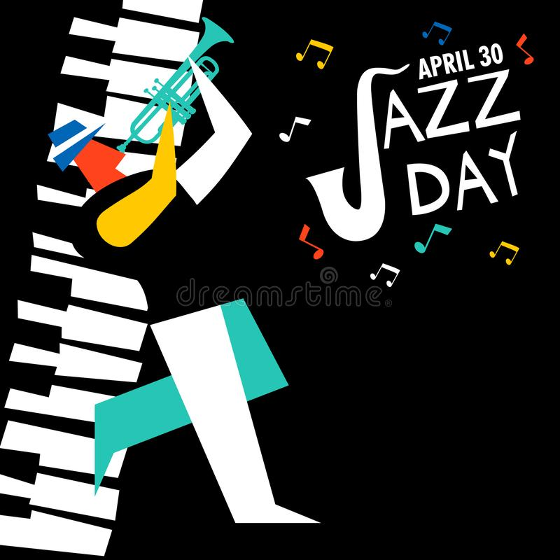 Jazzowa dzień karta tubowy gracz w koncercie ilustracji