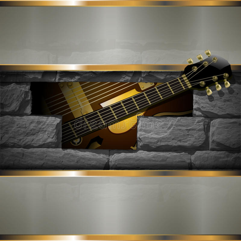 Jazzowa gitara na tle kamienie royalty ilustracja