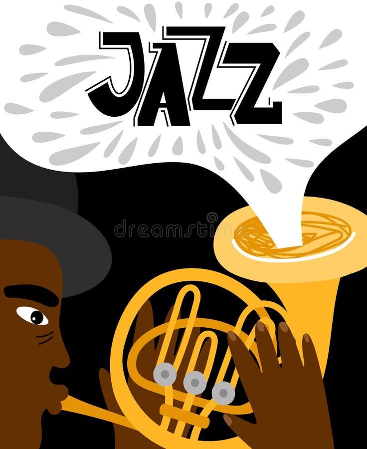 Jazzowego mężczyzny afrykańska bawić się trąbka sztandar ilustracja wektor