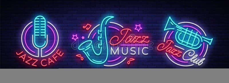 Jazzowej muzyki inkasowi neonowi znaki Symbole, kolekcja logowie w neonowym stylu, jaskrawy noc sztandar, świecąca reklama royalty ilustracja