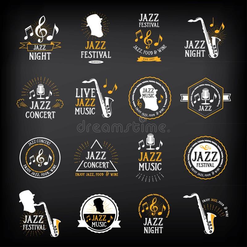 Jazzowej muzyki przyjęcia logo i odznaka projekt Wektor z grafiką royalty ilustracja